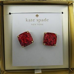 Kate Spade NY square garnet red stud earrings